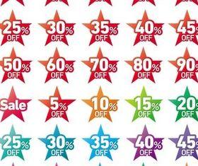 Sale Stars Stickers vector