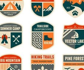 Camping Labels vectors