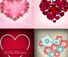 Hearts Backgrounds Set 4 vectors graphics