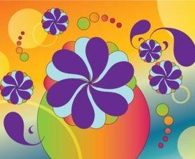 Sixties Floral Vectors set