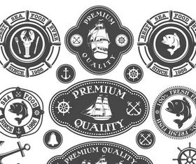 Seafood Retro Labels vectors graphics