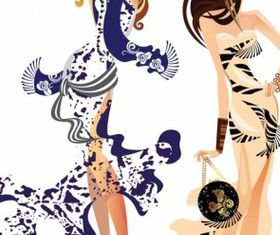 Fashion women silhouettes vector