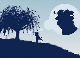Large trees couple silhouette vectors