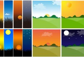 Sunset theme vectors graphic