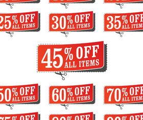 Sale Red Various Elements vector