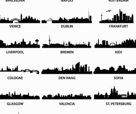 Silhouettes Skyline Cityscapes 2 vector graphics