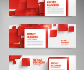 Red Abstract Banners set vector