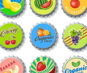 Bottle cap fruit Free vector set