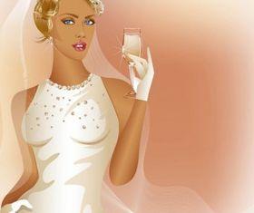Charm bride wedding 03 vector