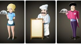 Cartoon waiter vectors graphic