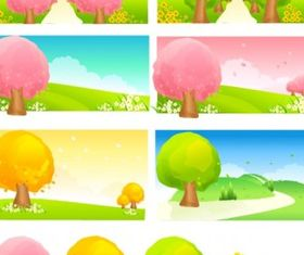 Seasonal changes trees vector