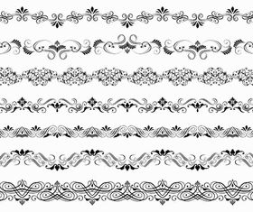 Vintage Floral Borders 7 set vector