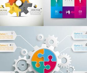Puzzle Infographics Backgrounds 3 vector set