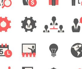 Red-black Business Icons vector