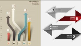 Arrows Infographics Backgrounds 6 vectors graphics