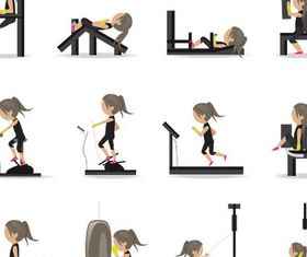Women in GYM vector