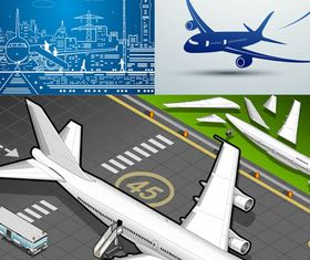 Backgrounds with Airplane 3 vectors graphic