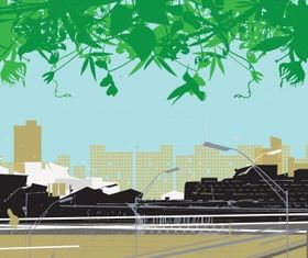 City and nature set vector