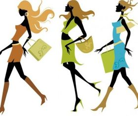 Shopping girl 01 vector