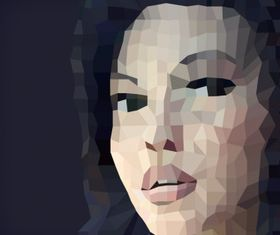 Female face polygon abstract vector