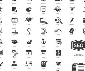 Seo Black Icons vectors material