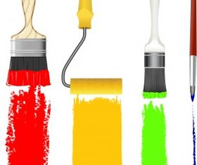 Paint brush and rulo set vector