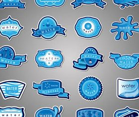 Water Blue Labels vector graphics