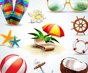 Vacation Icons vectors graphics