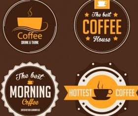 Coffee stickers Free design vector