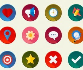 Colorful icons set Free vector