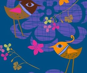 handpainted flowers birds 2 vector