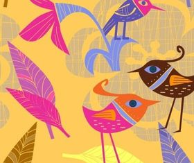 handpainted flowers birds 3 vector