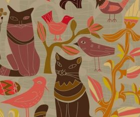 Cartoon style decorative birds and cats 01 vector