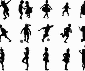 Silhouettes playing children set vector