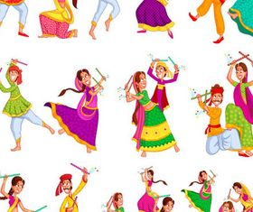 Cartoon Dancing People shiny vector