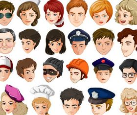 Colored People Avatars 10 vector