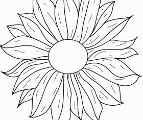 Flower line drawing Free vector