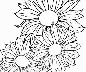 Flowers line drawing Free vectors graphic