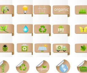 Eco bio label and badge set vector