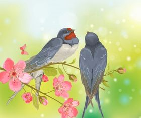 Romantic birds on tree branch Free vector
