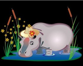 Hippopotamus vector graphics