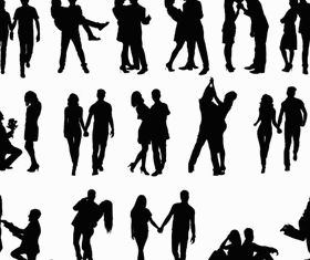 Silhouettes Couples 2 vector