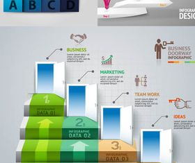 Staircase Infographics Backgrounds 4 vector graphics