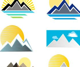 Stylish Mountains Logo 3 vector