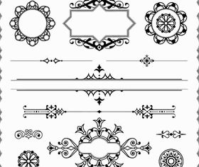 Ornamental Vintage Elements 12 set vector