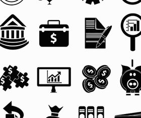Black Financial Icons 3 vector design