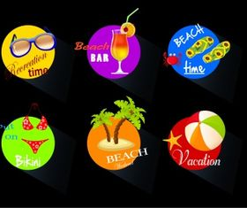 Beach time icons Free vectors