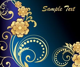 Golden floral vectors material