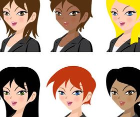 Colored People Avatars 9 vector