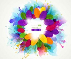 Splash colorful flowers background Free Illustration vector